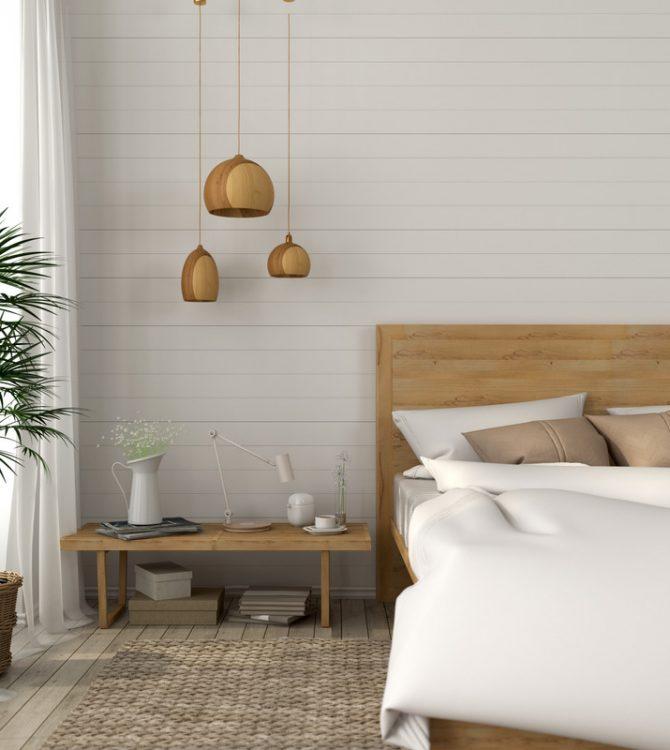 Bedroom with a light beige tones