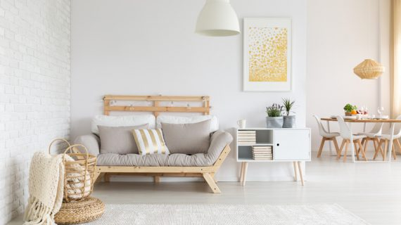 White and beige furnitures in living room